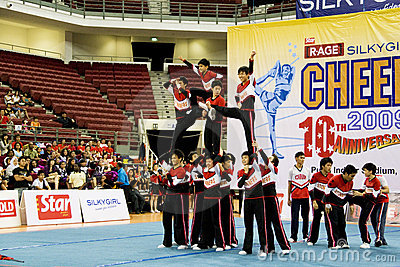Boys  Cheerleading Action Editorial Stock Image