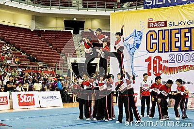 Boys  Cheerleading Action Editorial Stock Image