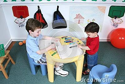 Boys Coloring at Preschool
