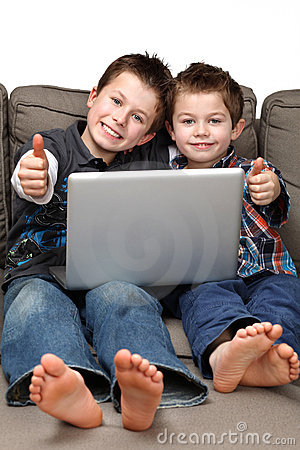 Boys with computer