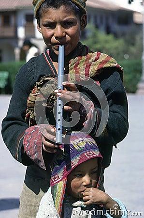 Boys in Cuzco Editorial Photo