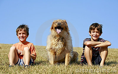 Boys and Dog on a Hill