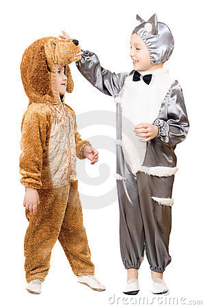 Boys dressed as a cat and dog