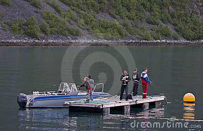 Boys fishing on dock