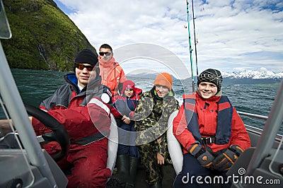 Boys fishing trip in boat