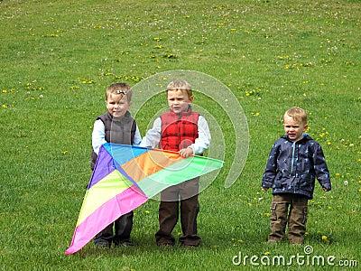 Boys flying kite