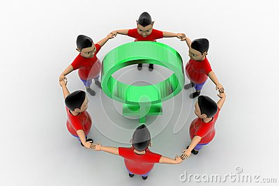 Boys Form Circled Group  In Women Symbol
