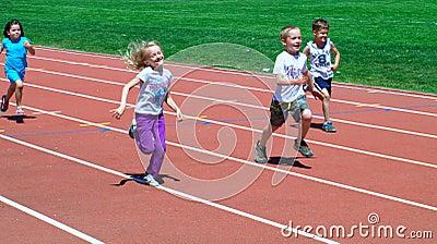 Boys and girls on the fun run Editorial Stock Photo