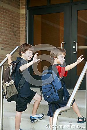Boys Going into School