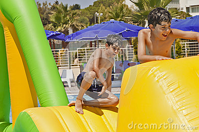 The Boys  are Have Fun in the Aqua Park