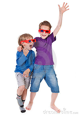 Boys having fun wearing 3D glasses