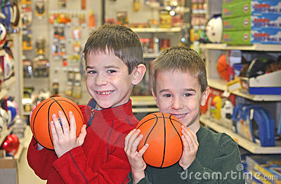 Boys Holding Basketballs