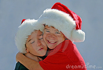 Boys Hugging with X-mas Hats On