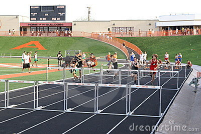 Boys Hurdle Race Editorial Stock Photo