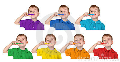 Boys in iridescent shirts show with toothbrush