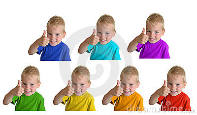 Boys in iridescent sports shirts show gesture ok