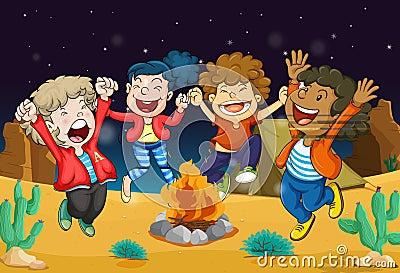 Boys near fire