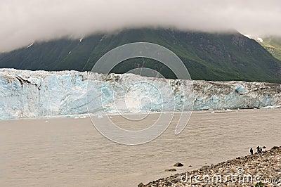 Boys observe glacier closeup