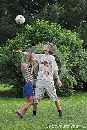 Boys play with boll
