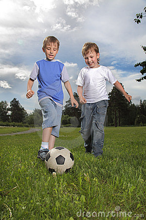 Boys play in soccer
