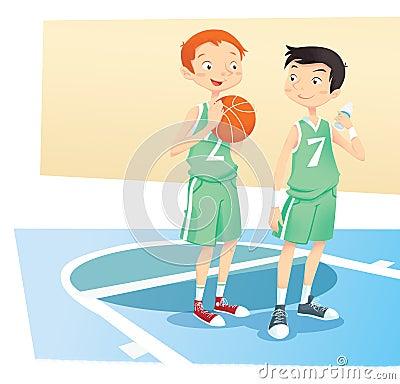 Boys playing basket ball