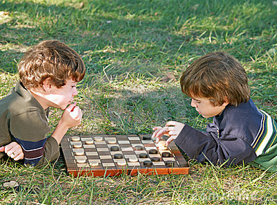 Boys Playing Checkers