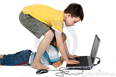 Boys Playing with Laptop