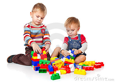 Boys are playing with the lego
