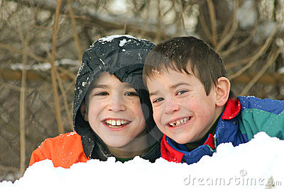 Boys Playing outside in Snow