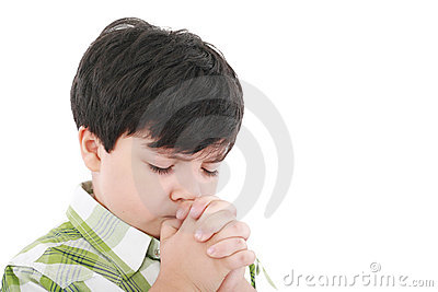 A boys prays