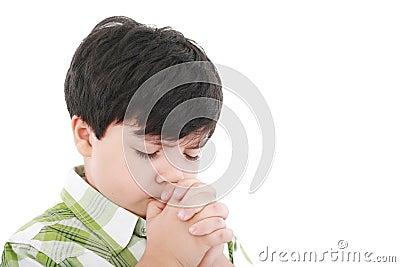 A boys prays
