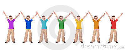 Boys with rainbow color sports shirts