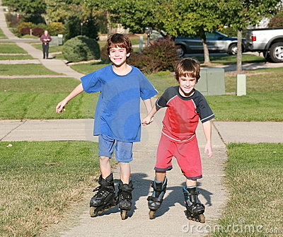 Boys Rollerblading