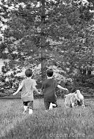 Free Boys Running With Their Dog Royalty Free Stock Images - 8740369
