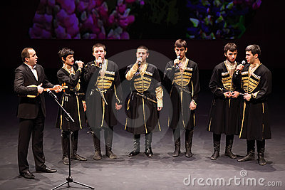 Boys sing at concert of Gennady Ledyakh School Editorial Image
