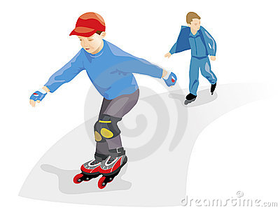 Boys skating rollers. Vector