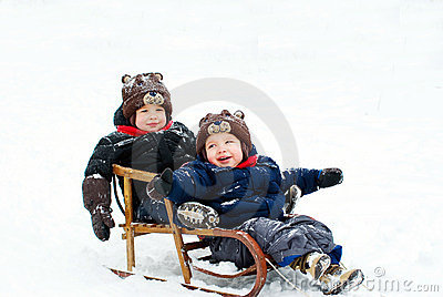 Boys in the sled