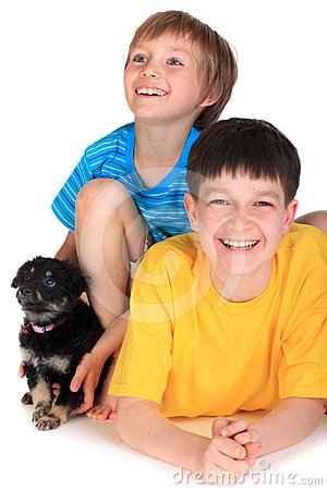 Boys and small dog