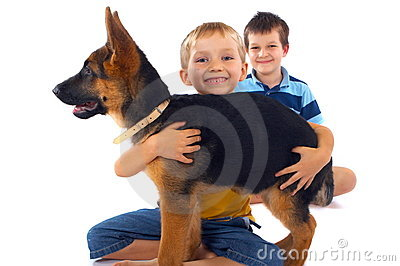 Boys And Their German Shepherd