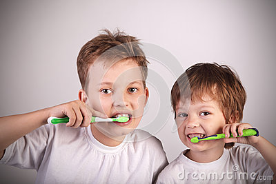 Boys with tooth brush