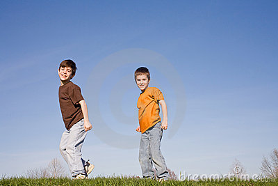 Boys Walking on a Hill