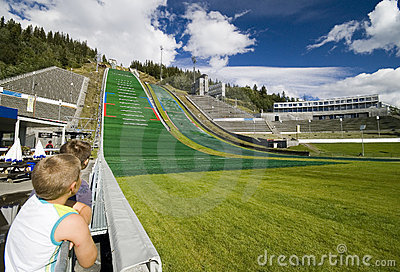 Boys Watching Ski Jumpers. Stock Photo - Image: 3002400