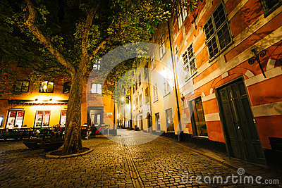 Brända Tomten at night, in Galma Stan, Stockholm, Sweden. Editorial Stock Photo