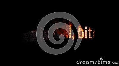 BRÛLURE brûlante des textes DANS LA FEMELLE d'ENFER Le feu animé et fumée Canal alpha inclus banque de vidéos