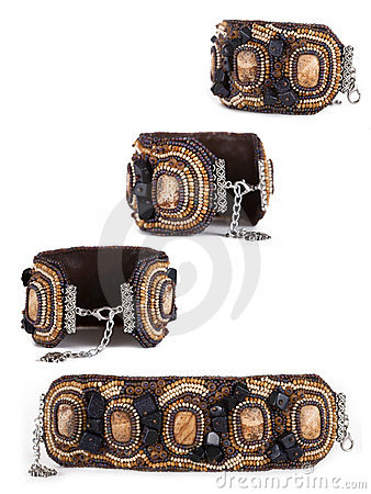 Free Bracelet From Hand-worked Beads Royalty Free Stock Photos - 15168028