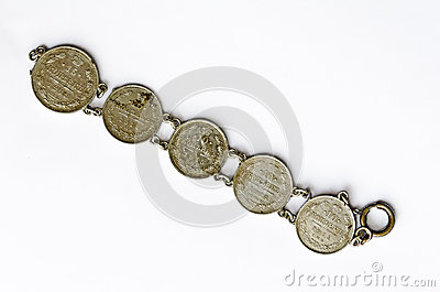 Bracelet made from russian silver coins