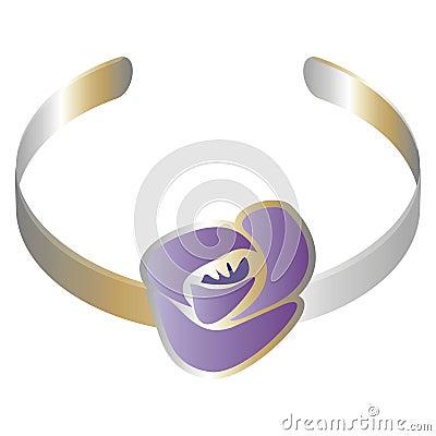 Bracelet with a purple flower