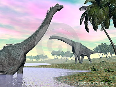 Brachiosaurus dinosaurs in nature - 3D render