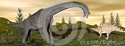 Brachiosaurus and stegosaurus dinosaurs- 3D render