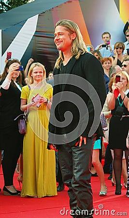 Brad Pitt på Moskvafilmfestivalen Redaktionell Arkivbild